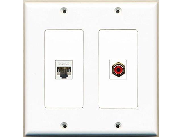 RiteAV - 1 Port RCA Red 1 Port Cat5e Ethernet White - Dual Gang Wall Plate