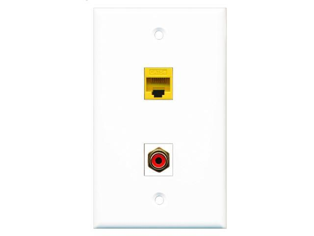 RiteAV - 1 Port RCA Red 1 Port Cat5e Ethernet Yellow Wall Plate