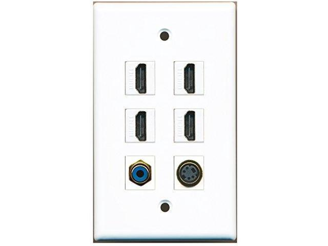 RiteAV - 4 HDMI 1 Port RCA Blue 1 Port S-Video Wall Plate