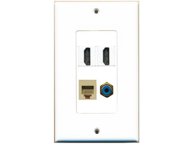 RiteAV - 2 Port HDMI 1 Port RCA Blue 1 Port Phone RJ11 RJ12 Beige Wall Plate ...