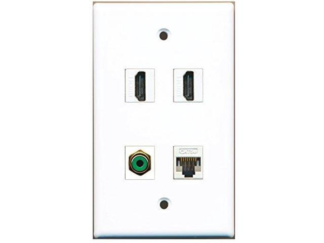 RiteAV - 2 Port HDMI 1 Port RCA Green 1 Port Cat5e Ethernet White Wall Plate