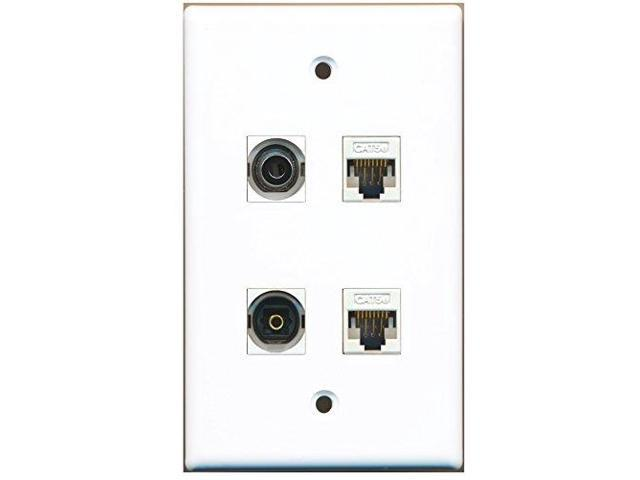 RiteAV - 1 Port Toslink 1 Port 3.5mm 2 Port Cat5e Ethernet White Wall Plate