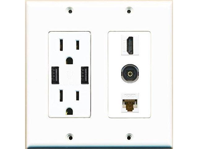 RiteAV Power Outlet 2 USB Charger HDMI Cat6 Ethernet Toslink Wall Plate White