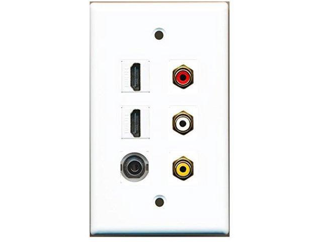 RiteAV 2 HDMI - 1 3.5mm Stereo and 3 RCA - Red White Yellow Wall Plate White