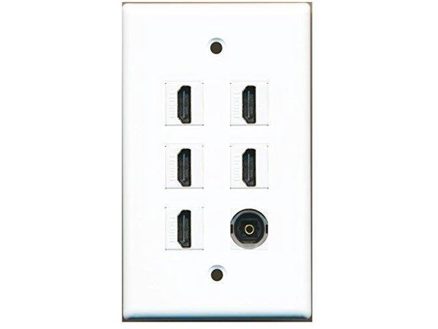 RiteAV - 5 x HDMI and 1 x Toslink Stereo Video Port Wall Plate White