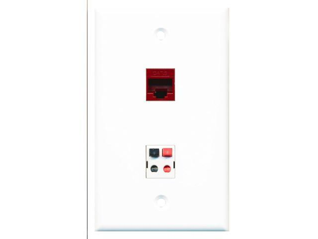 RiteAV - 1 Port Cat6 Ethernet Red 1 Port Speaker Wall Plate