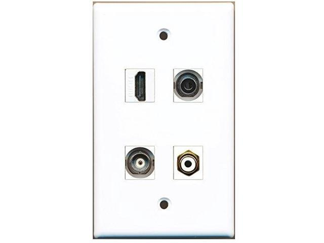RiteAV - 1 Port HDMI 1 Port RCA White 1 Port 3.5mm 1 Port BNC Wall Plate