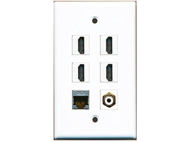 RiteAV - 4 HDMI 1 Port RCA White 1 Port Shielded Cat6 Ethernet Wall Plate