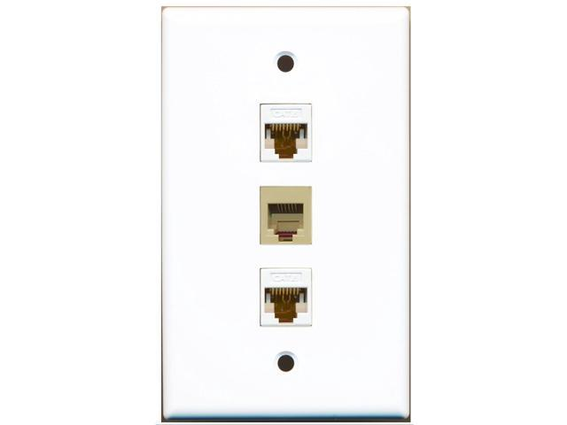 RiteAV - 1 Port Phone RJ11 RJ12 Beige 2 Port Cat6 Ethernet White Wall Plate
