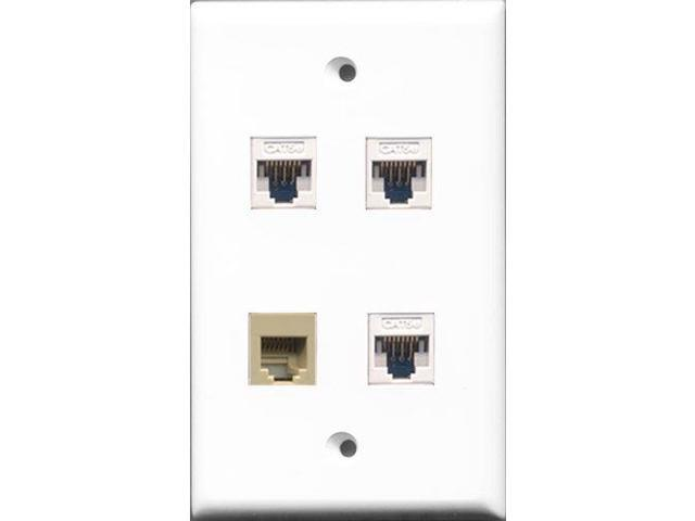 RiteAV - 1 Port Phone RJ11 RJ12 Beige 3 Port Cat5e Ethernet White Wall Plate