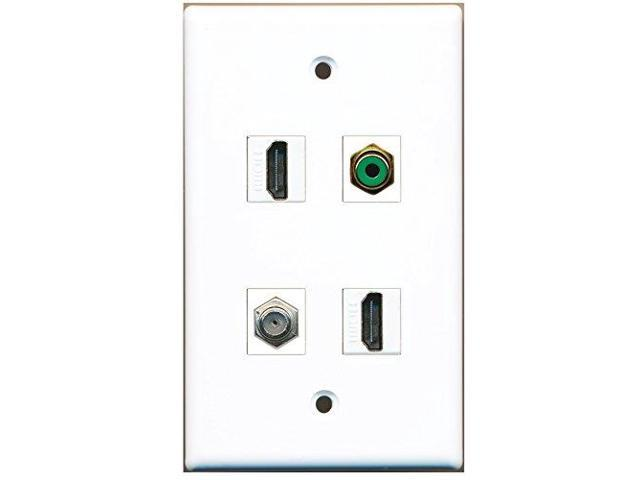 RiteAV - 2 Port HDMI 1 Port RCA Green 1 Port Coax Cable TV- F-Type Wall Plate
