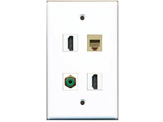 RiteAV - 2 Port HDMI 1 Port RCA Green 1 Port Phone RJ11 RJ12 Beige Wall Plate