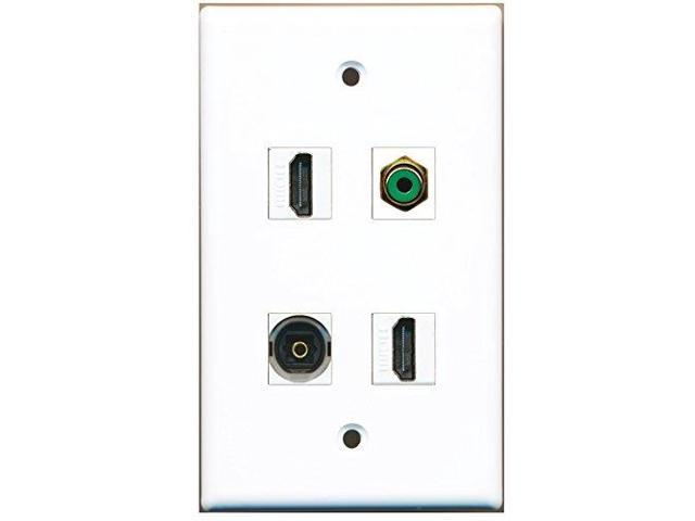 RiteAV - 2 Port HDMI 1 Port RCA Green 1 Port Toslink Wall Plate