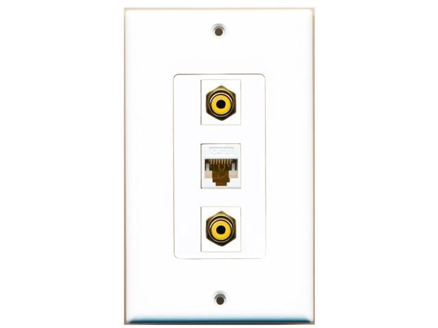 RiteAV - 2 Port RCA Yellow and 1 Port Cat6 Ethernet White Decora Wall Plate D...