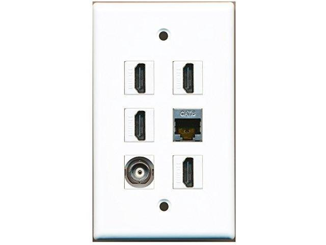 RiteAV - 4 HDMI 1 Port Shielded Cat6 Ethernet 1 Port BNC Wall Plate