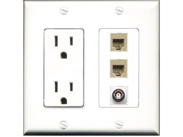 RiteAV - 15 Amp Power Outlet 2 Port Phone Beige 1 Port BNC Decora Wall Plate