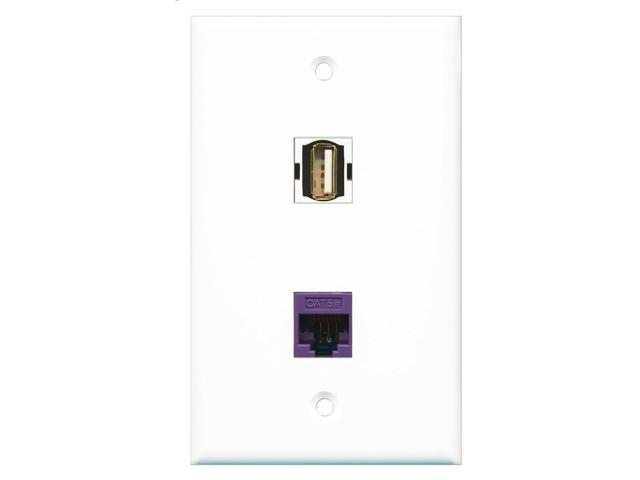 RiteAV - 1 Port USB A-A - 1 Port Cat5e Ethernet Purple Wall Plate White