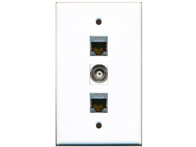 RiteAV - 2 Port Shielded Cat6 Ethernet and 1 Port BNC Wall Plate