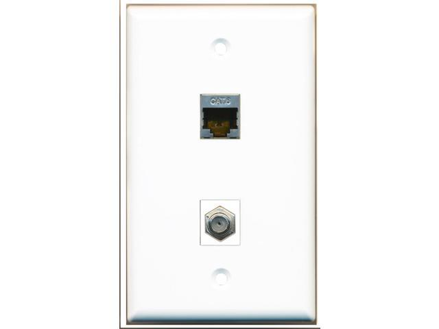 RiteAV - 1 x Cat6 Shielded Ethernet and 1 x Cable TV Coax Port Wall Plate White
