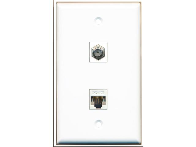 RiteAV - 1 Coax F Type and 1 Cat5e Ethernet Port Wall Plate White