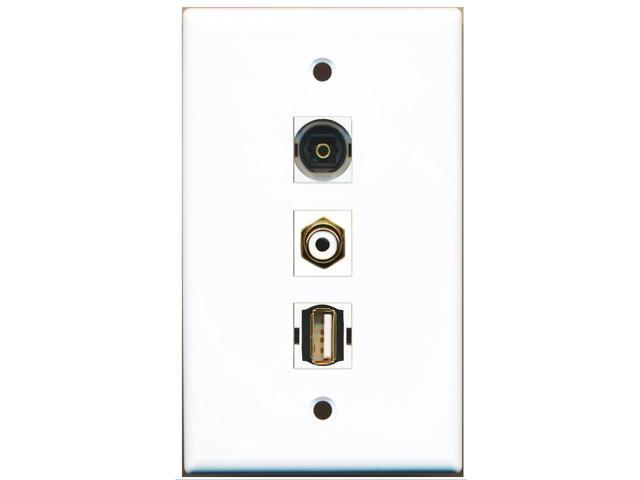 RiteAV - 1 Port RCA White and 1 Port USB A-A and 1 Port Toslink Wall Plate