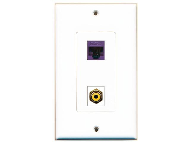 RiteAV - 1 Port RCA Yellow - 1 Port Cat5e Ethernet Orange Wall Plate Decorati...