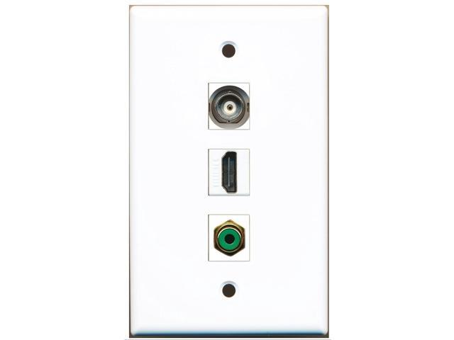 RiteAV - 1 Port HDMI 1 RCA Green 1 BNC Wall Plate