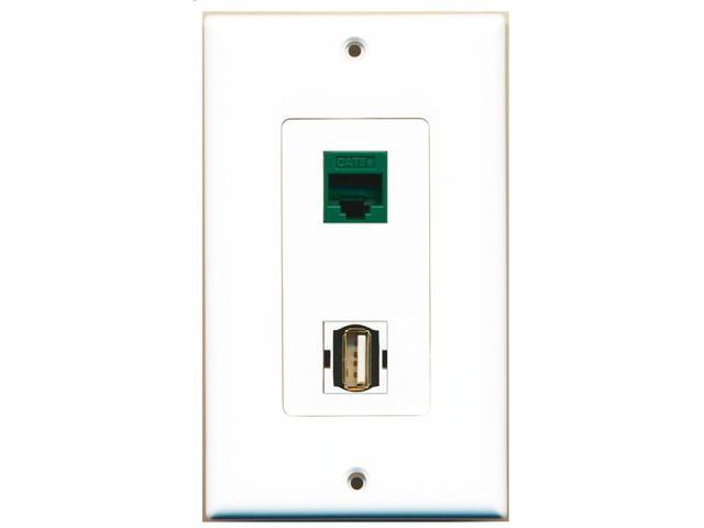 RiteAV - 1 Port USB A-A 1 Port Cat5e Ethernet Green Decorative Wall Plate
