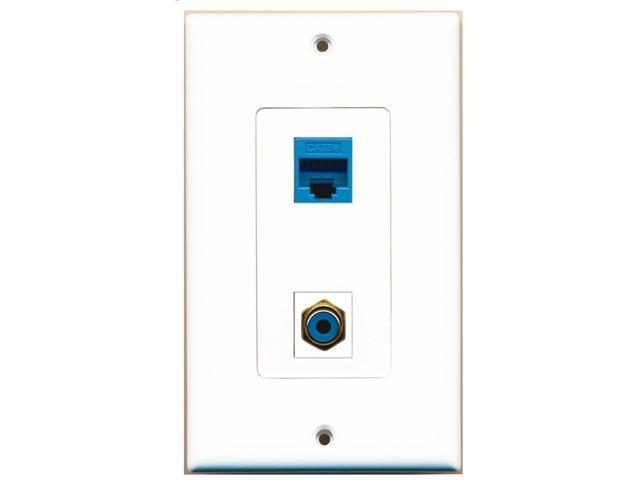 RiteAV - 1 Port RCA Blue 1 Port Cat5e Ethernet Blue Decorative Wall Plate