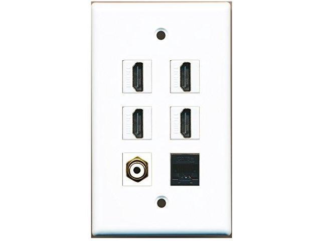 RiteAV - 4 Port HDMI 1 RCA White 1 Cat5e Ethernet Black Wall Plate