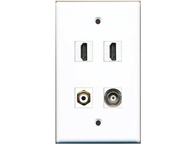 RiteAV - 2 Port HDMI 1 Port RCA White 1 Port BNC Wall Plate