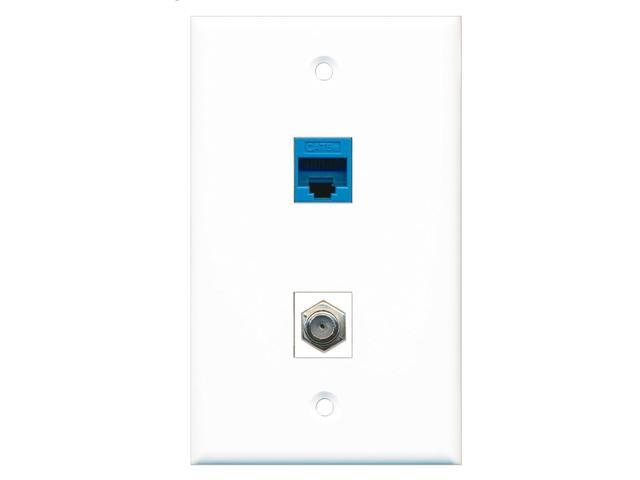RiteAV - 1 Port Coax Cable TV- F-Type 1 Port Cat5e Ethernet Blue Wall Plate