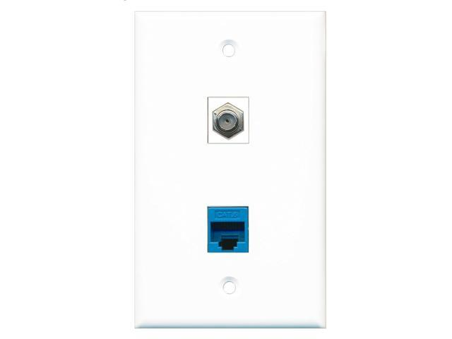 RiteAV - 1 Port Coax Cable TV- F-Type 1 Port Cat6 Ethernet Blue Wall Plate