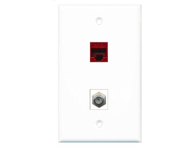 RiteAV - 1 Port Coax Cable TV- F-Type 1 Port Cat6 Ethernet Red Wall Plate