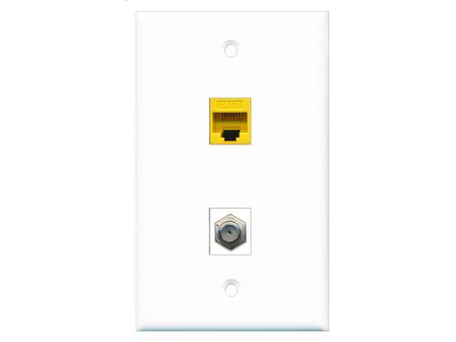 RiteAV - 1 Port Coax Cable TV- F-Type 1 Port Cat6 Ethernet Yellow Wall Plate