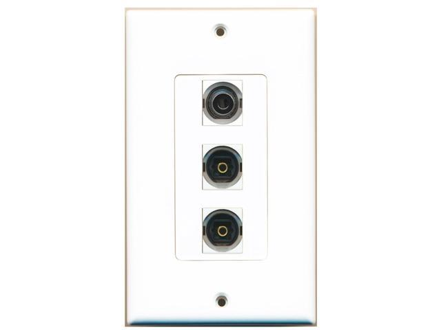RiteAV - 2 Port Toslink and 1 Port 3.5mm Decora Wall Plate Decora