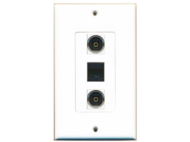 RiteAV - 2 Port Toslink and 1 Port Cat5e Ethernet Black Wall Plate Decora