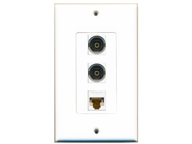 RiteAV - 2 Port Toslink and 1 Port Cat6 Ethernet White Decora Wall Plate Decora