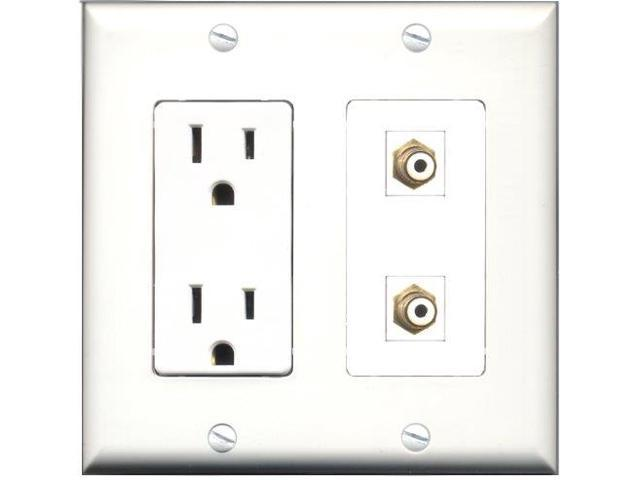 RiteAV - 15 Amp Power Outlet 2 Port RCA White Decora Type Wall Plate White