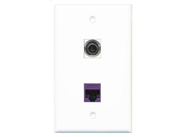 RiteAV - 1 Port 3.5mm - 1 Port Cat5e Ethernet Purple Wall Plate White