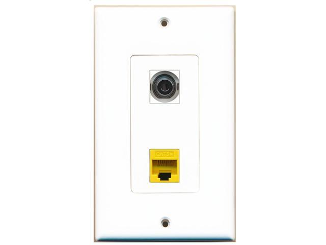 RiteAV - 1 Port 3.5mm - 1 Port Cat5e Ethernet Yellow Wall Plate Decorative White