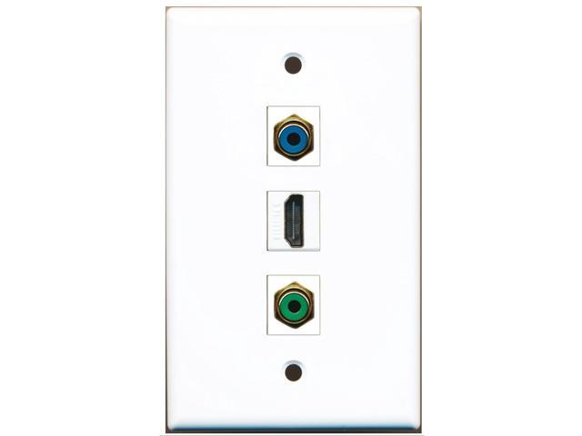 RiteAV - 1 Port HDMI 1 RCA Green 1 RCA Blue Wall Plate