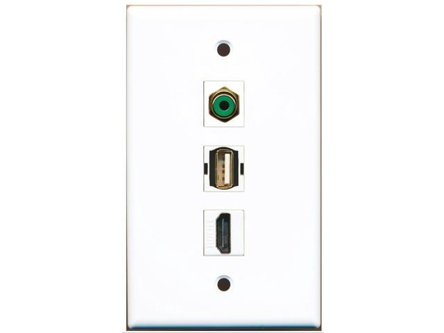 RiteAV - 1 Port HDMI and 1 Port RCA Green and 1 Port USB A-A Wall Plate