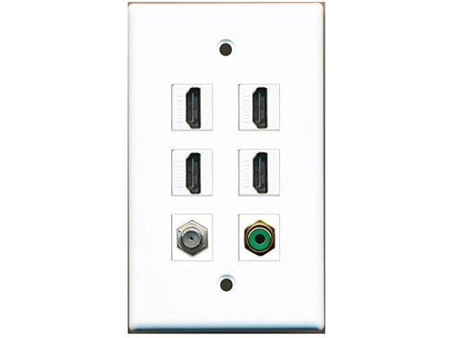 RiteAV - 4 Port HDMI 1 RCA Green 1 Coax Cable TV- F-Type Wall Plate
