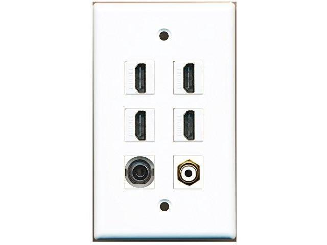 RiteAV - 4 Port HDMI 1 RCA White 1 3.5mm Wall Plate