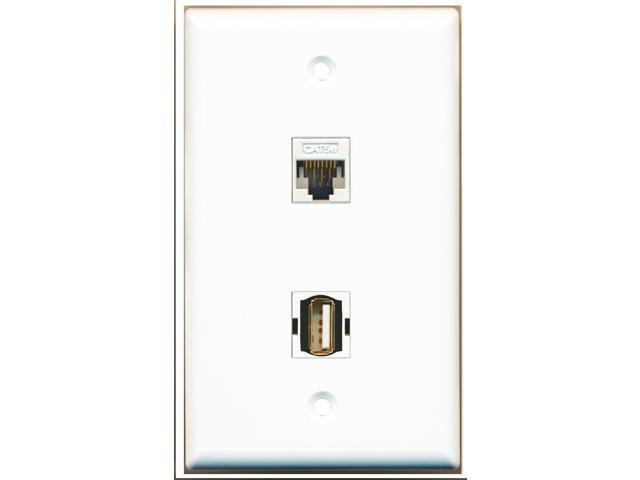RiteAV - 1 Port USB A-A 1 Port Cat5e White Wall Plate