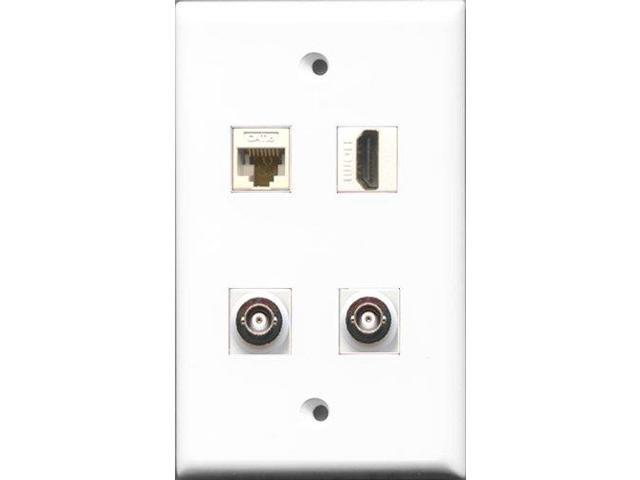 RiteAV 1 Port HDMI 2 Port BNC and 1 Port Cat6 Ethernet White Wall Plate