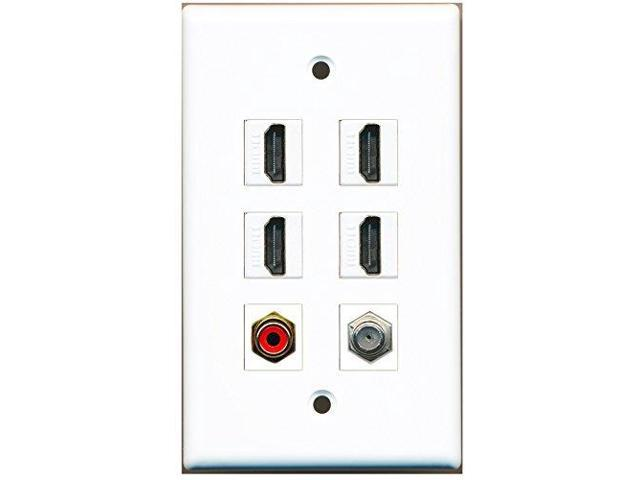 RiteAV - 4 Port HDMI 1 RCA Red 1 Coax Cable TV- F-Type Wall Plate