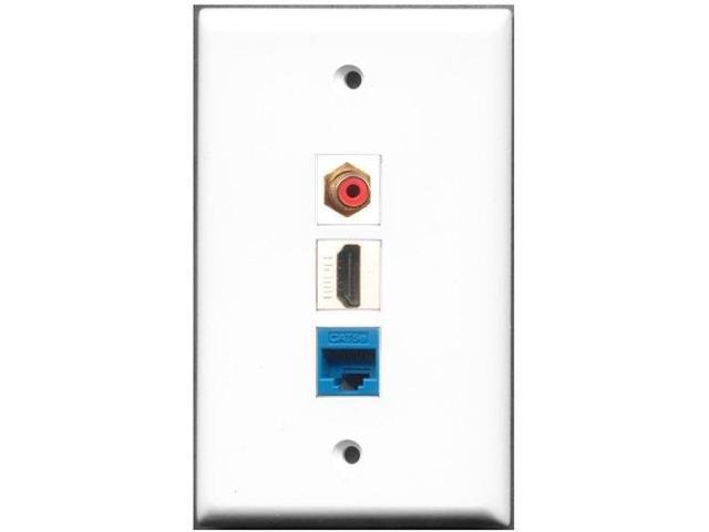 RiteAV - 1 Port HDMI 1 RCA Red 1 Cat5e Ethernet Blue Wall Plate
