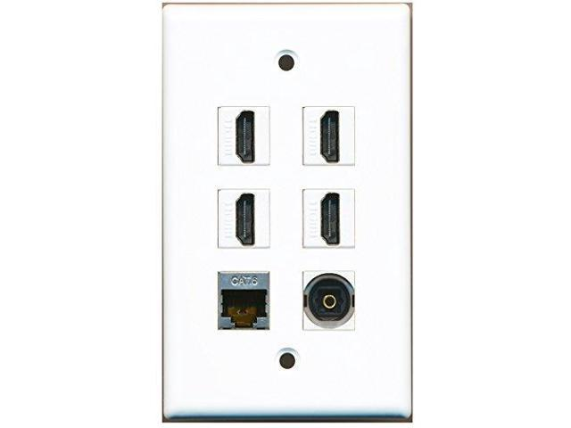 RiteAV - 4 Port HDMI 1 Shielded Cat6 Ethernet 1 Toslink Wall Plate